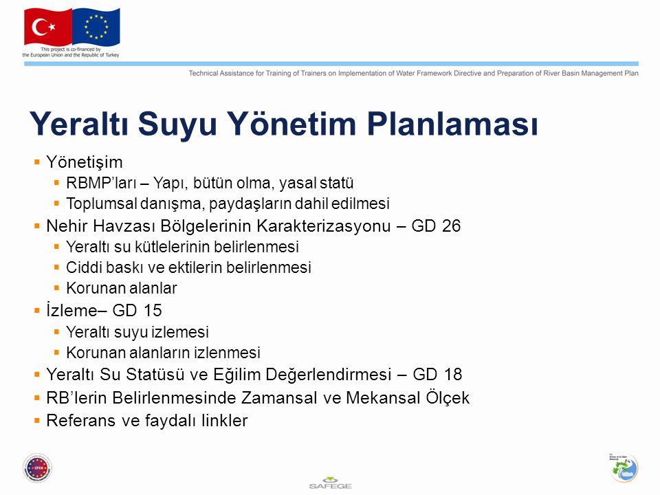 Avrupa Su Çerçeve Direktifi'nin Kilit Unsurları  Tüm su, yüzey suyu ve yeraltı sularının bütüncül biçimde korunması  2015'e kadar iyi kalitenin ( iyi statüsü ) elde edilmesi  Nehir havzalarına dayalı entegre su yönetimi  Emisyon kontrolleri ve su kalitesi standartları için birleşik yaklaşım, bununla birlikte özellikle tehlikeli maddelerin ortadan kaldırılması  Ekonomik araçları: ekonomik analiz ve dikkatli su kullanımını teşvik amacıyla fiyatların doğru belirlenmesi  Vatandaş ve paydaşların konuya dahil edilmesi: toplumsal katılım