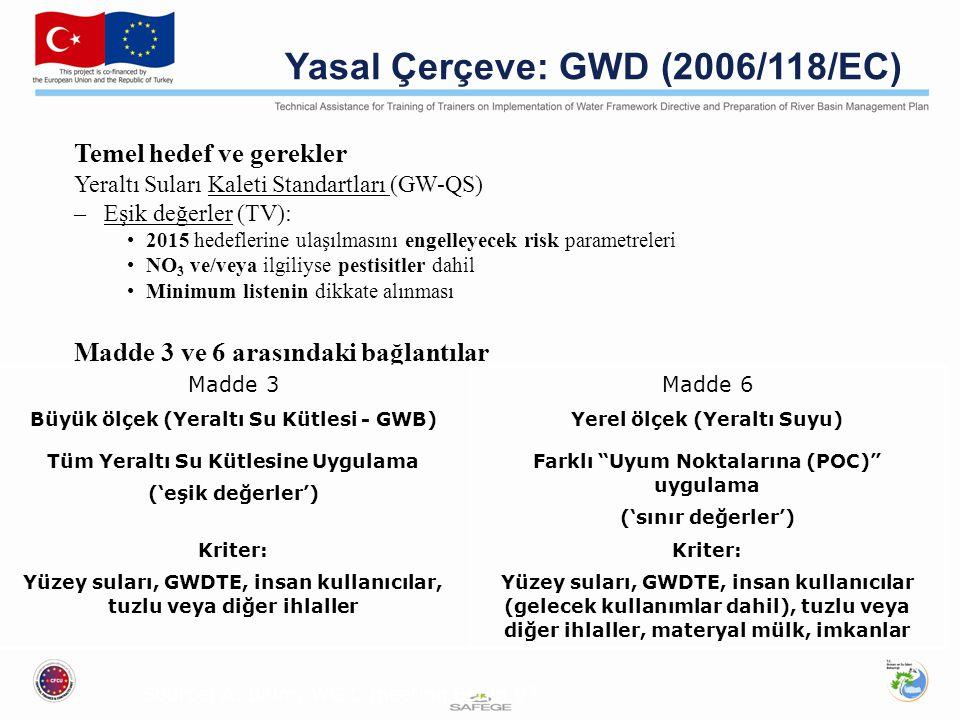 Yasal Çerçeve: GWD (2006/118/EC) Temel hedef ve gerekler Yeraltı Suları Kaleti Standartları (GW-QS) –Eşik değerler (TV): 2015 hedeflerine ulaşılmasını engelleyecek risk parametreleri NO 3 ve/veya ilgiliyse pestisitler dahil Minimum listenin dikkate alınması Madde 3 ve 6 arasındaki bağlantılar Madde 3Madde 6 Büyük ölçek (Yeraltı Su Kütlesi - GWB)Yerel ölçek (Yeraltı Suyu) Tüm Yeraltı Su Kütlesine Uygulama ('eşik değerler') Farklı Uyum Noktalarına (POC) uygulama ('sınır değerler') Kriter: Yüzey suları, GWDTE, insan kullanıcılar, tuzlu veya diğer ihlaller Kriter: Yüzey suları, GWDTE, insan kullanıcılar (gelecek kullanımlar dahil), tuzlu veya diğer ihlaller, materyal mülk, imkanlar Source: A.