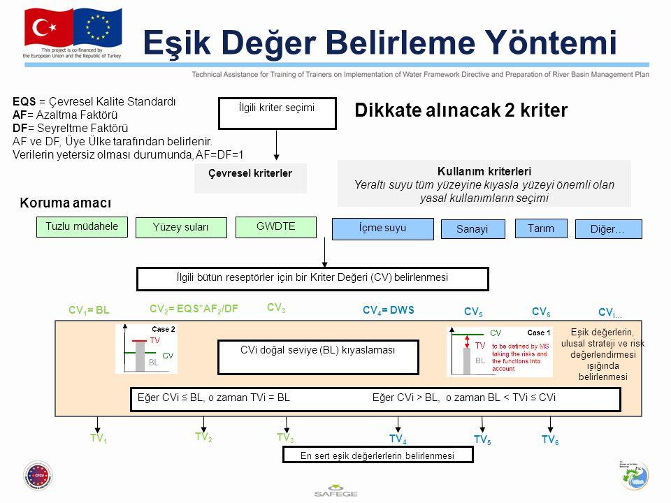 Diğer… İlgili kriter seçimi Çevresel kriterler Kullanım kriterleri Yeraltı suyu tüm yüzeyine kıyasla yüzeyi önemli olan yasal kullanımların seçimi GWDTE İçme suyu Sanayi Tarım En sert eşik değerlerlerin belirlenmesi İlgili bütün reseptörler için bir Kriter Değeri (CV) belirlenmesi CV 3 CVi doğal seviye (BL) kıyaslaması CV 2 = EQS*AF 2 /DF Eşik Değer Belirleme Yöntemi Dikkate alınacak 2 kriter Koruma amacı Yüzey suları Tuzlu müdahele CV 1 = BL CV 4 = DWS CV İ… CV 6 CV 5 Eğer CVi ≤ BL, o zaman TVi = BL Eğer CVi > BL, o zaman BL < TVi ≤ CVi TV 3 TV 2 TV 1 TV 4 TV 6 TV 5 EQS = Çevresel Kalite Standardı AF= Azaltma Faktörü DF= Seyreltme Faktörü AF ve DF, Üye Ülke tarafından belirlenir.