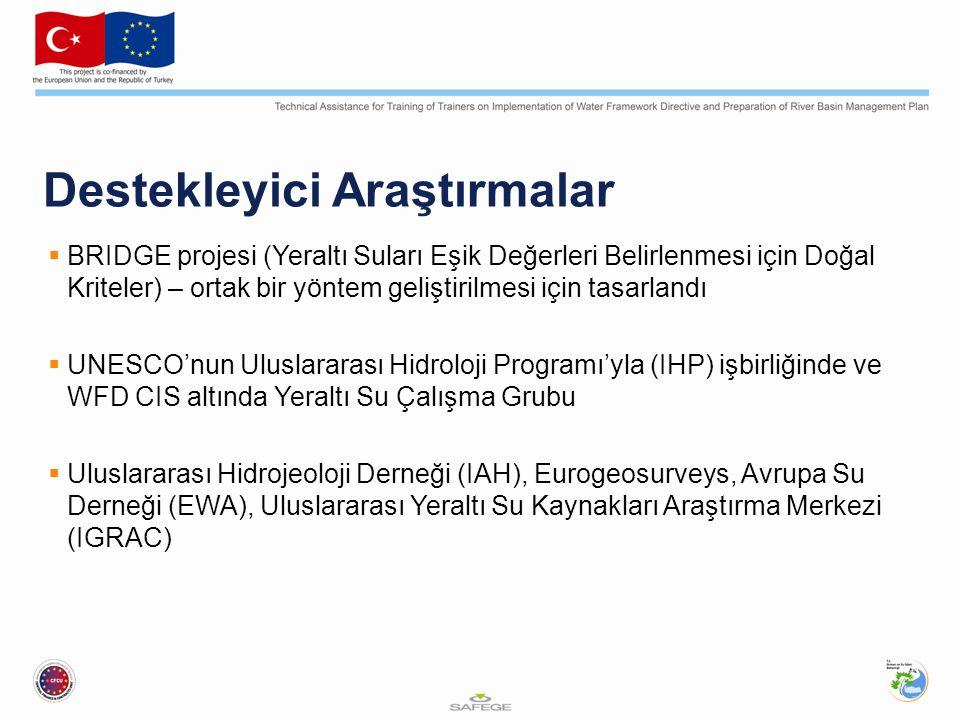 Destekleyici Araştırmalar  BRIDGE projesi (Yeraltı Suları Eşik Değerleri Belirlenmesi için Doğal Kriteler) – ortak bir yöntem geliştirilmesi için tasarlandı  UNESCO'nun Uluslararası Hidroloji Programı'yla (IHP) işbirliğinde ve WFD CIS altında Yeraltı Su Çalışma Grubu  Uluslararası Hidrojeoloji Derneği (IAH), Eurogeosurveys, Avrupa Su Derneği (EWA), Uluslararası Yeraltı Su Kaynakları Araştırma Merkezi (IGRAC)