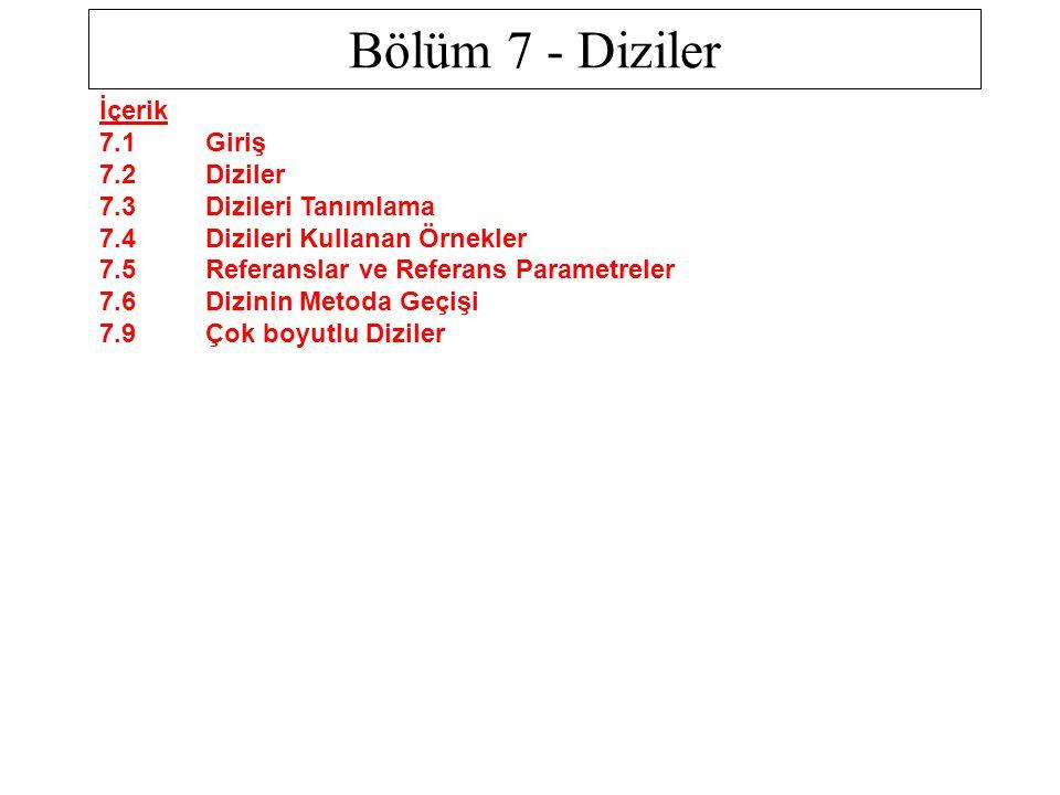 Bölüm 7 - Diziler İçerik 7.1 Giriş 7.2 Diziler 7.3 Dizileri Tanımlama 7.4 Dizileri Kullanan Örnekler 7.5 Referanslar ve Referans Parametreler 7.6 Dizi