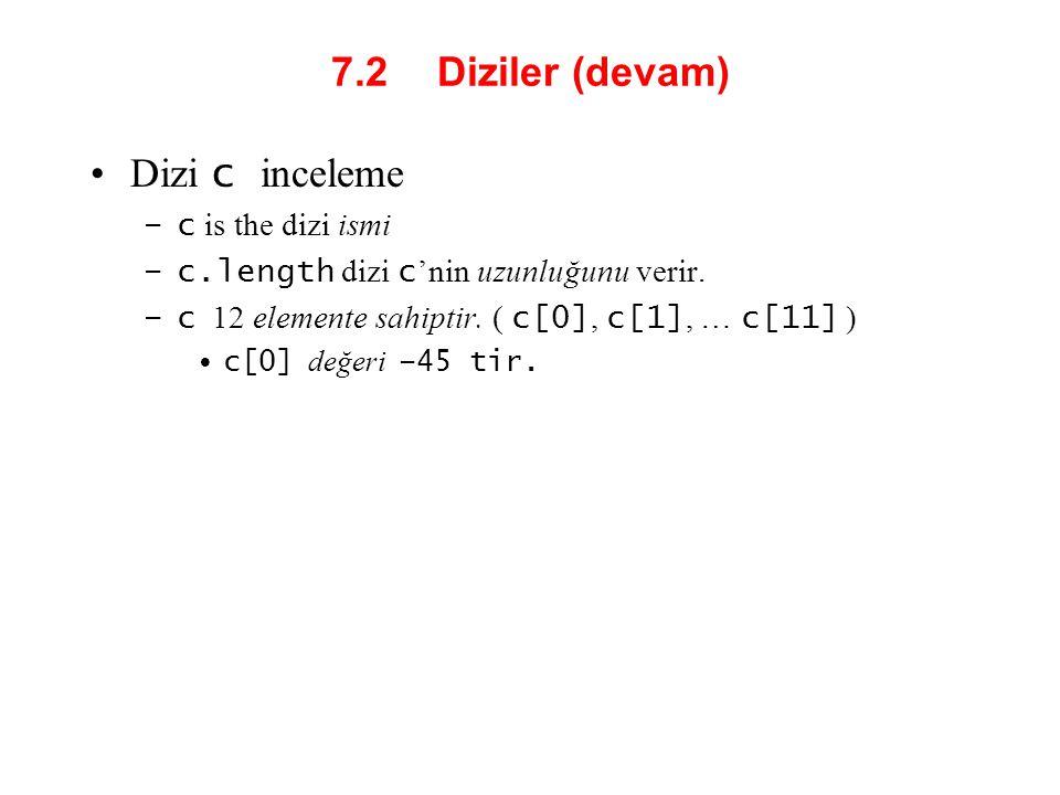 7.2 Diziler (devam) Dizi c inceleme –c is the dizi ismi –c.length dizi c 'nin uzunluğunu verir. –c 12 elemente sahiptir. ( c[0], c[1], … c[11] ) c[0]
