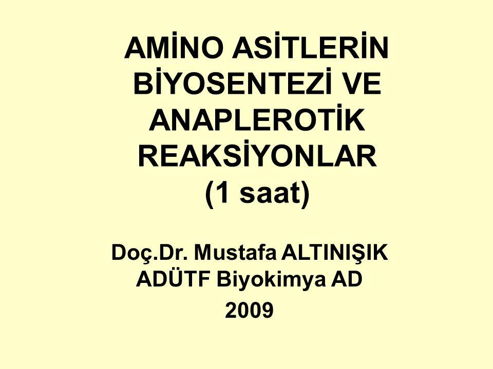 AMİNO ASİTLERİN BİYOSENTEZİ VE ANAPLEROTİK REAKSİYONLAR (1 saat) Doç.Dr. Mustafa ALTINIŞIK ADÜTF Biyokimya AD 2009