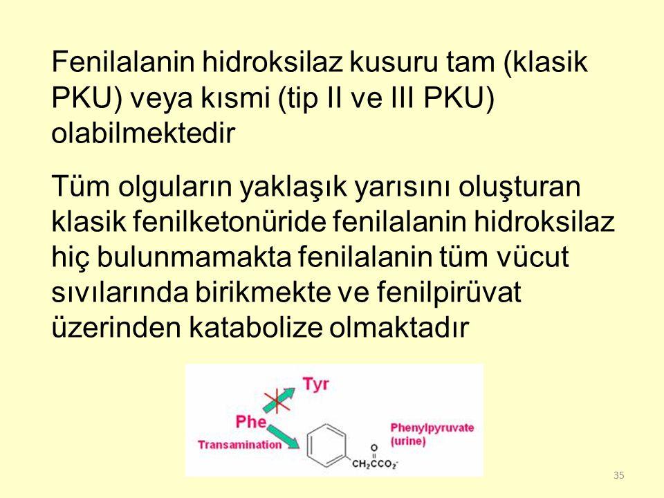 35 Fenilalanin hidroksilaz kusuru tam (klasik PKU) veya kısmi (tip II ve III PKU) olabilmektedir Tüm olguların yaklaşık yarısını oluşturan klasik feni