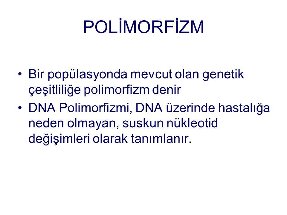 POLİMORFİZM Bir popülasyonda mevcut olan genetik çeşitliliğe polimorfizm denir DNA Polimorfizmi, DNA üzerinde hastalığa neden olmayan, suskun nükleoti