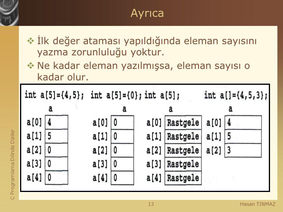C Programlama Dilinde Diziler Hasan TINMAZ13 Ayrıca  İlk değer ataması yapıldığında eleman sayısını yazma zorunluluğu yoktur.  Ne kadar eleman yazıl