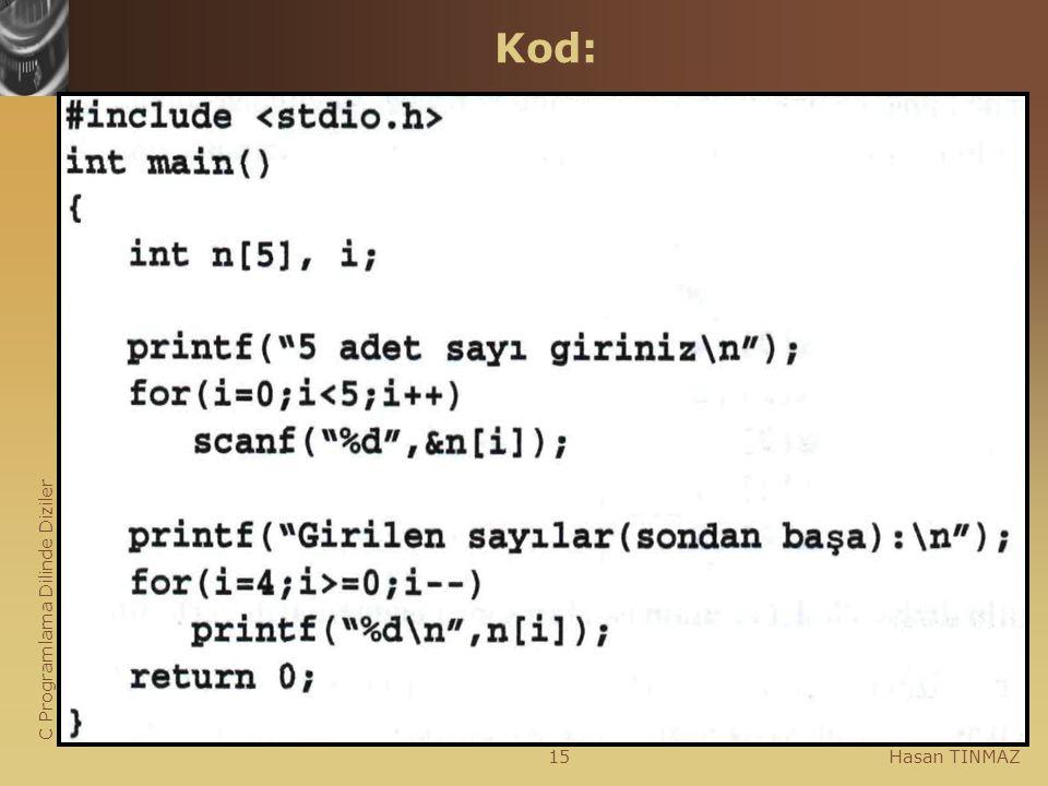 C Programlama Dilinde Diziler Hasan TINMAZ15 Kod: