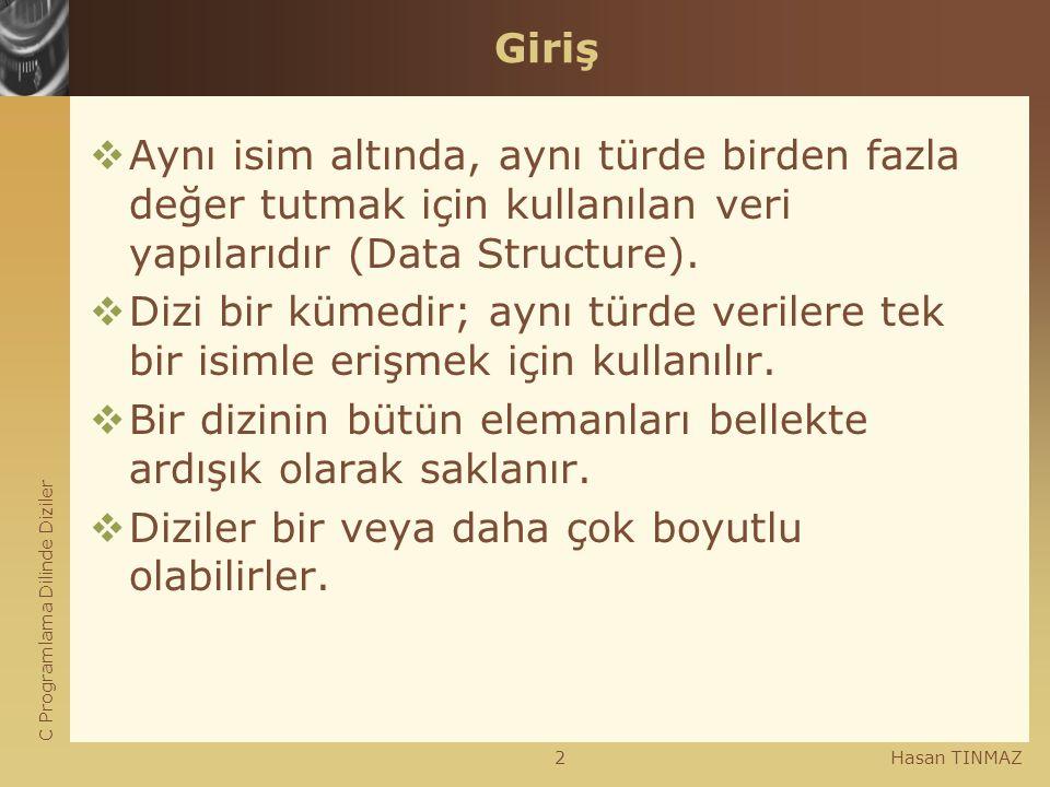 C Programlama Dilinde Diziler Hasan TINMAZ2 Giriş  Aynı isim altında, aynı türde birden fazla değer tutmak için kullanılan veri yapılarıdır (Data Str