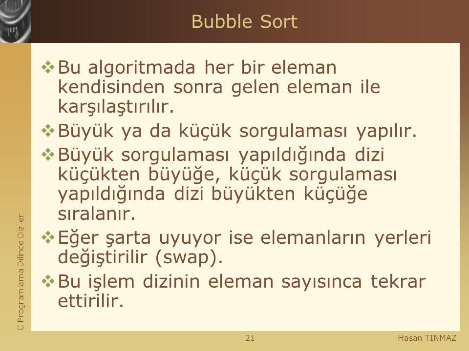 C Programlama Dilinde Diziler Hasan TINMAZ21 Bubble Sort  Bu algoritmada her bir eleman kendisinden sonra gelen eleman ile karşılaştırılır.  Büyük y
