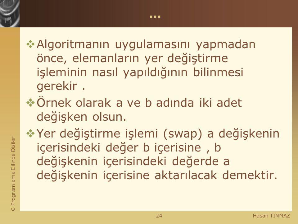C Programlama Dilinde Diziler Hasan TINMAZ24 …  Algoritmanın uygulamasını yapmadan önce, elemanların yer değiştirme işleminin nasıl yapıldığının bili
