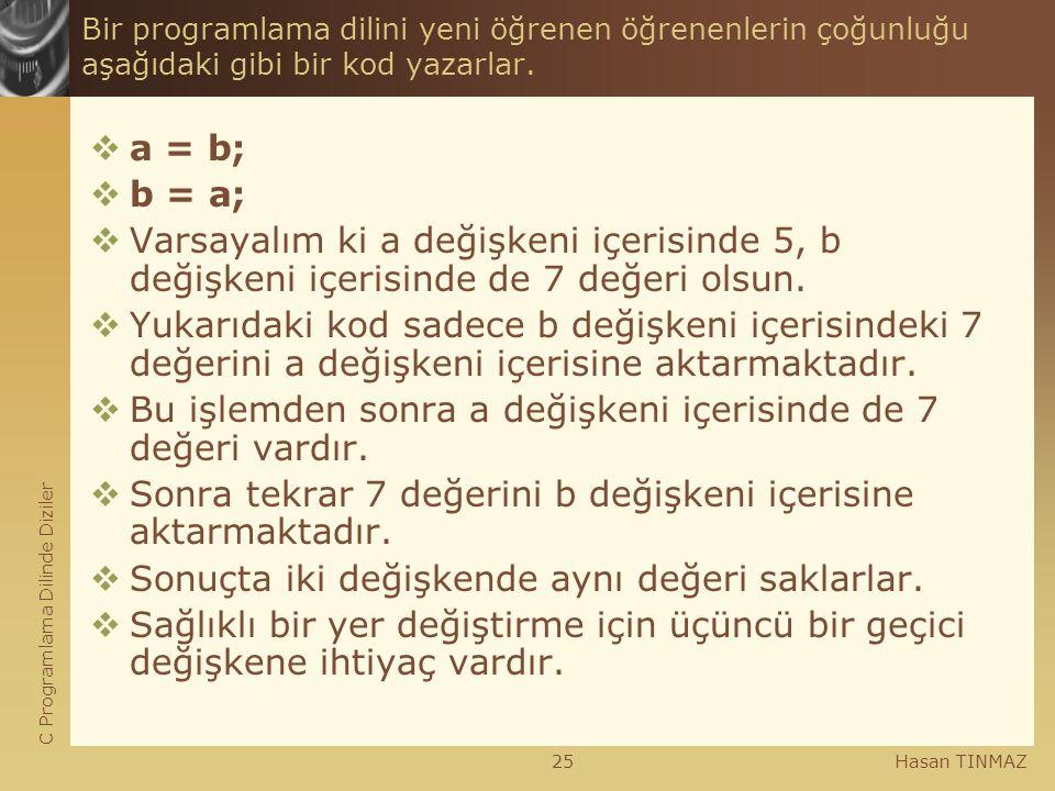 C Programlama Dilinde Diziler Hasan TINMAZ25 Bir programlama dilini yeni öğrenen öğrenenlerin çoğunluğu aşağıdaki gibi bir kod yazarlar.  a = b;  b