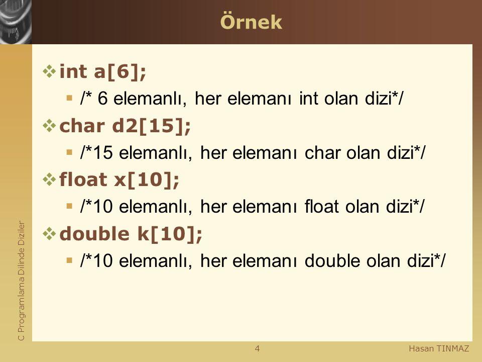 C Programlama Dilinde Diziler Hasan TINMAZ4 Örnek  int a[6];  /* 6 elemanlı, her elemanı int olan dizi*/  char d2[15];  /*15 elemanlı, her elemanı