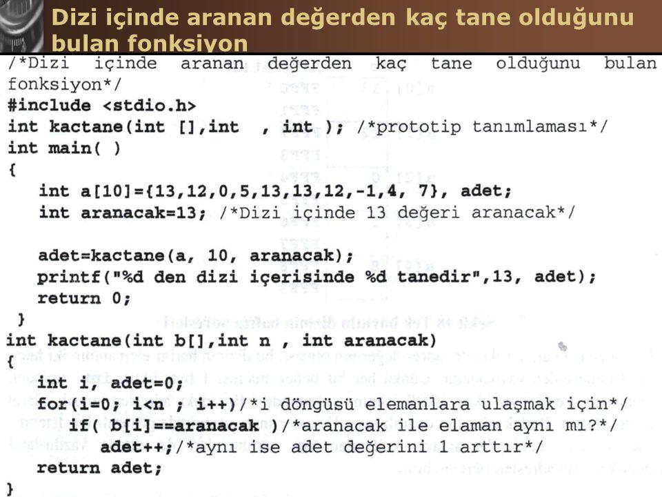 C Programlama Dilinde Diziler Hasan TINMAZ40 Dizi içinde aranan değerden kaç tane olduğunu bulan fonksiyon
