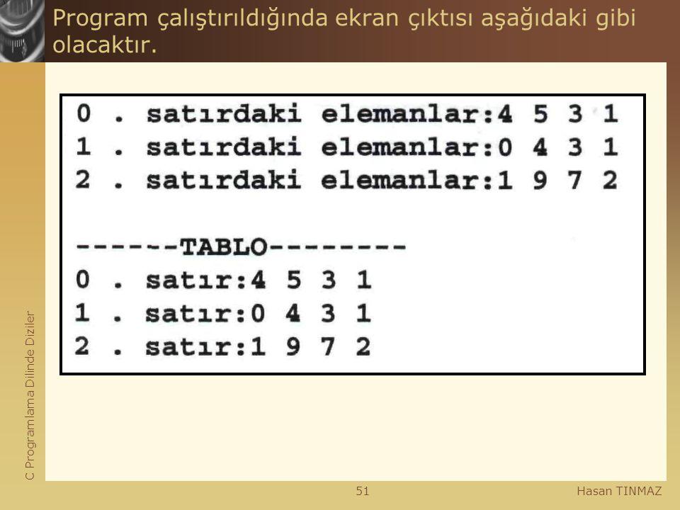 C Programlama Dilinde Diziler Hasan TINMAZ51 Program çalıştırıldığında ekran çıktısı aşağıdaki gibi olacaktır.