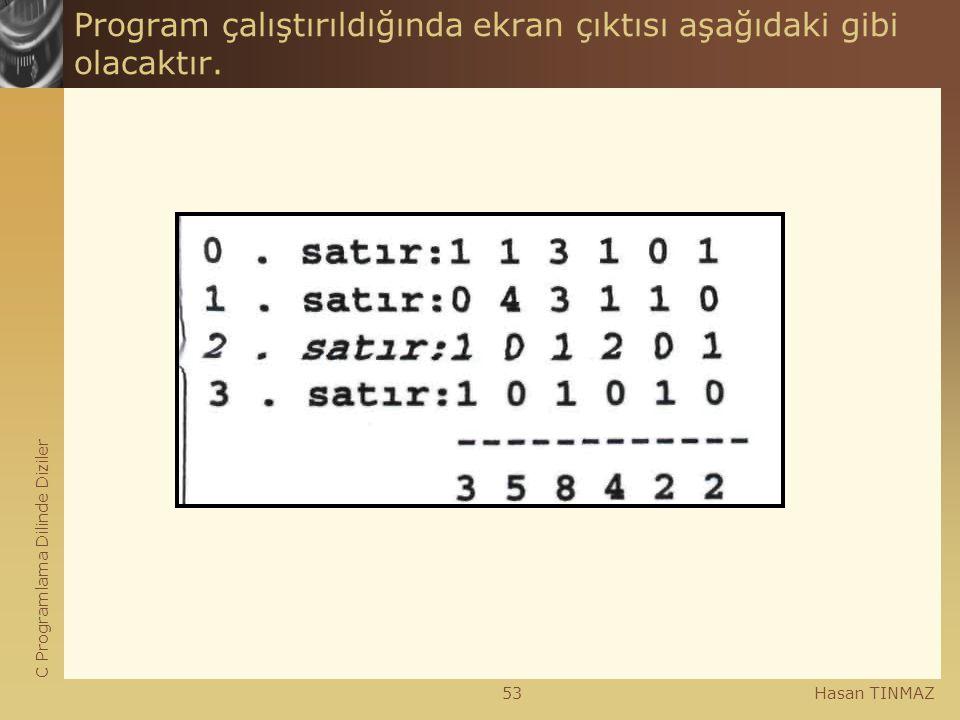 C Programlama Dilinde Diziler Hasan TINMAZ53 Program çalıştırıldığında ekran çıktısı aşağıdaki gibi olacaktır.