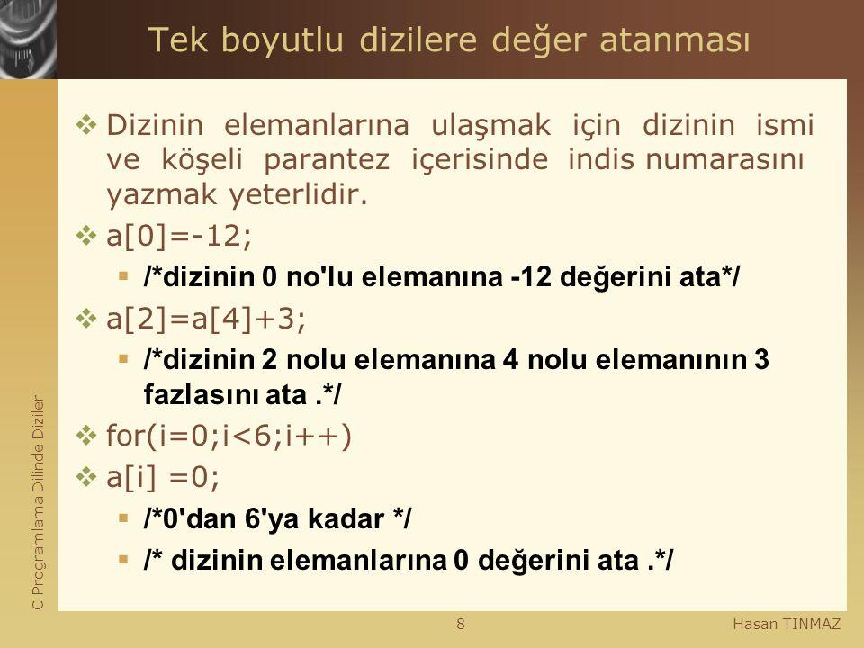 C Programlama Dilinde Diziler Hasan TINMAZ8 Tek boyutlu dizilere değer atanması  Dizinin elemanlarına ulaşmak için dizinin ismi ve köşeli parantez iç