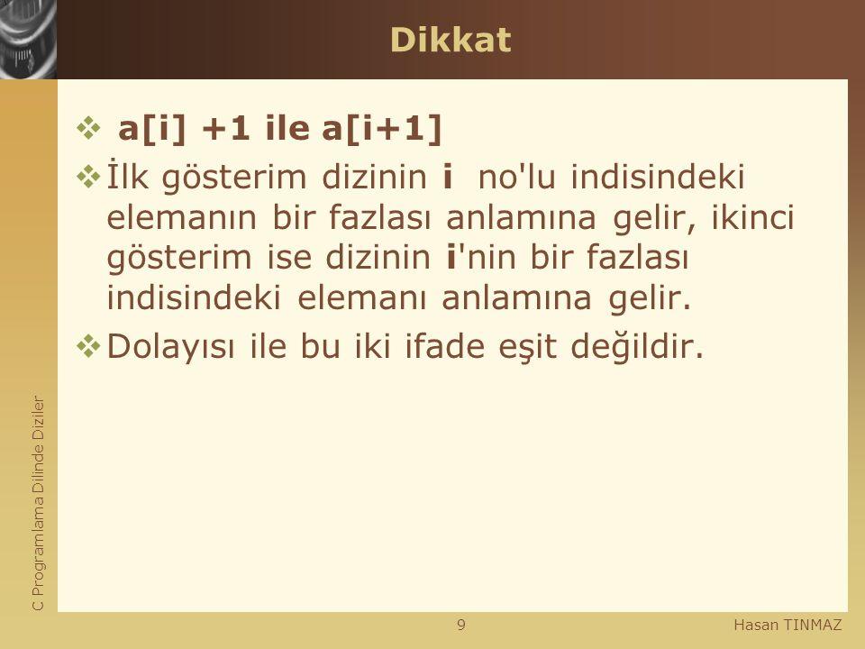 C Programlama Dilinde Diziler Hasan TINMAZ9 Dikkat  a[i] +1 ile a[i+1]  İlk gösterim dizinin i no'lu indisindeki elemanın bir fazlası anlamına gelir