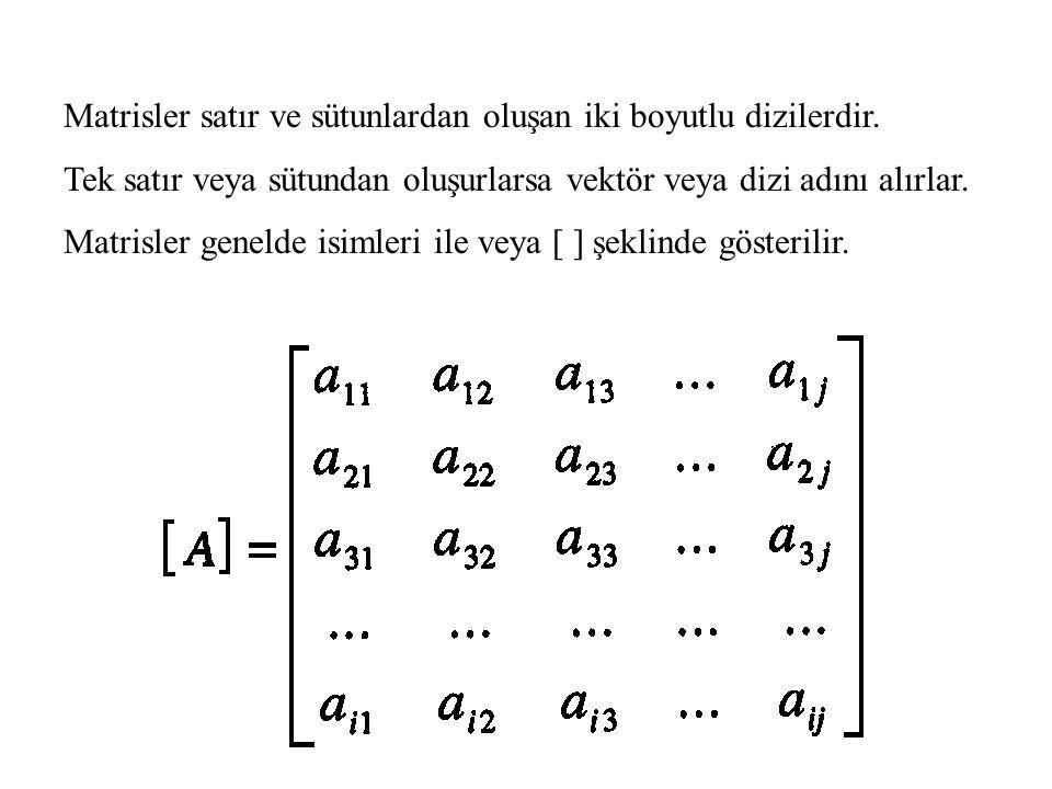Alt ve Üst Üçgen Matris Matrisin köşegeni üstündeki elemanlar sıfır ise Alt Üçgen Matris Matrisin köşegeni altındaki elemanlar sıfır ise Üst Üçgen Matris denir.