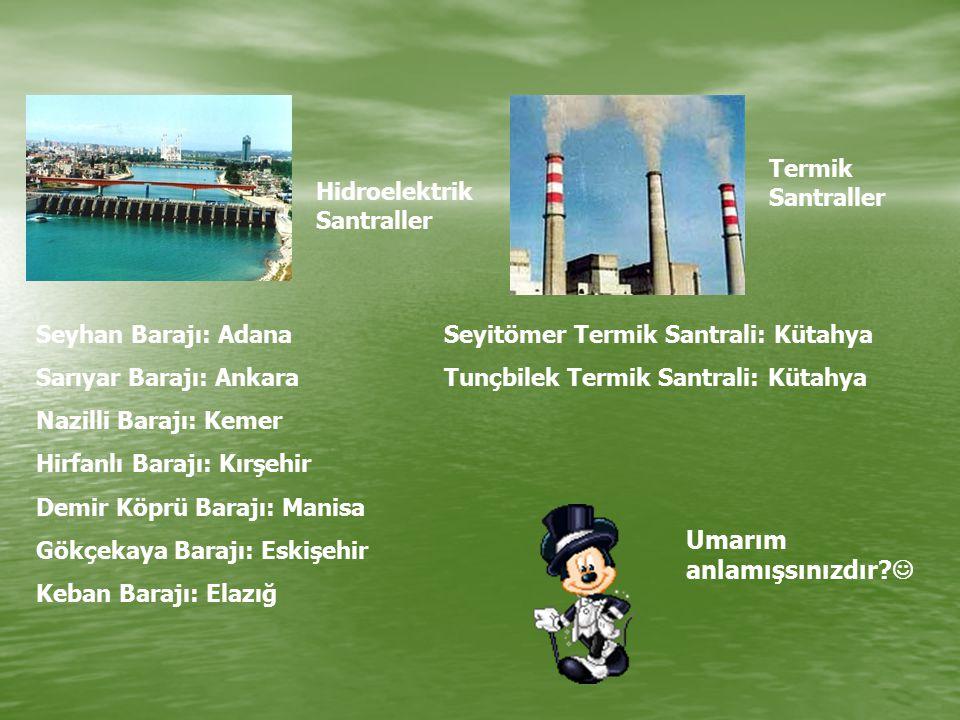 Hidroelektrik Santraller Seyhan Barajı: Adana Sarıyar Barajı: Ankara Nazilli Barajı: Kemer Hirfanlı Barajı: Kırşehir Demir Köprü Barajı: Manisa Gökçek