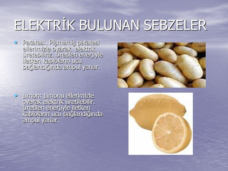 ELEKTRİK BULUNAN SEBZELER Patates:. Pişmemiş patatesi ellerimizle ovarak elektrik üretebiliriz. Üretilen enerjiyle iletken kabloların ucu bağlandığınd