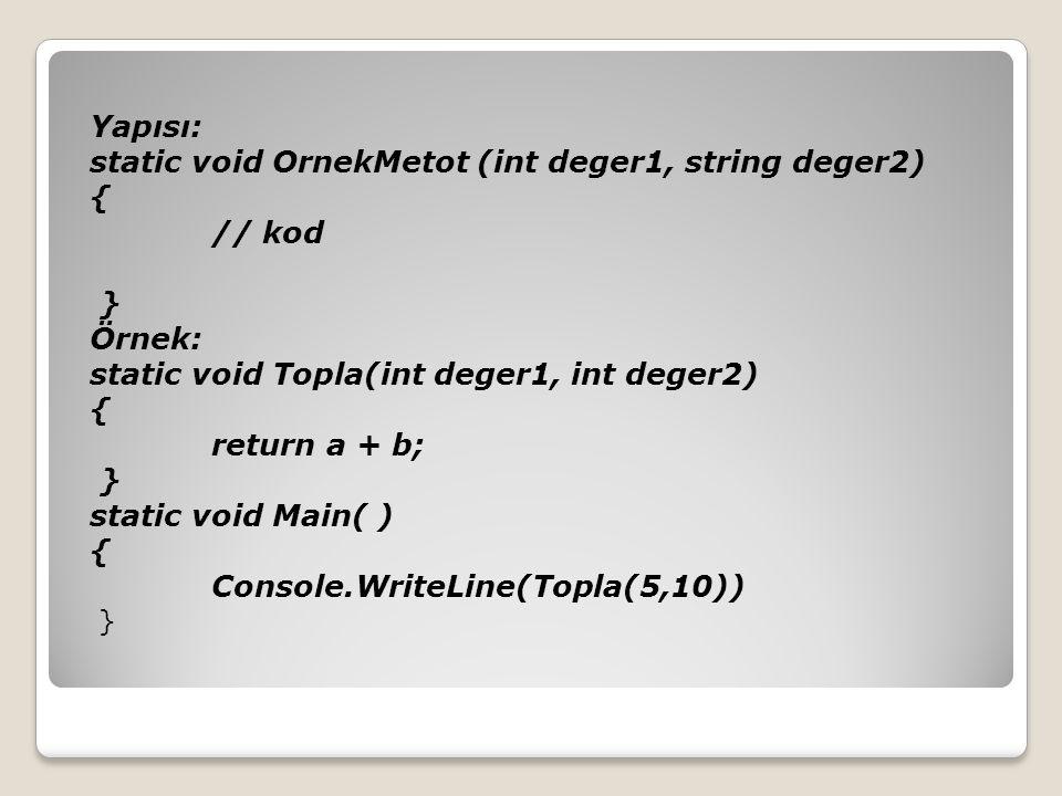 Yapısı: static void OrnekMetot (int deger1, string deger2) { // kod } Örnek: static void Topla(int deger1, int deger2) { return a + b; } static void Main( ) { Console.WriteLine(Topla(5,10)) }
