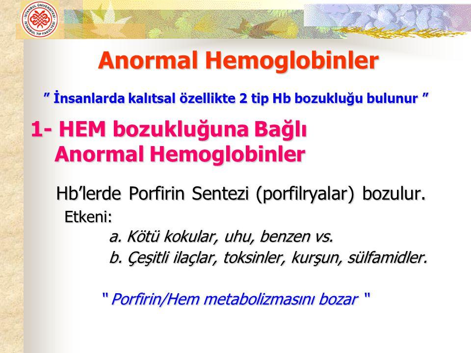 1- HEM bozukluğuna Bağlı Anormal Hemoglobinler Anormal Hemoglobinler Hb'lerde Porfirin Sentezi (porfilryalar) bozulur. Etkeni: Etkeni: a. Kötü kokular