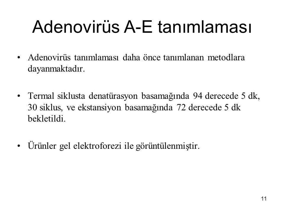 11 Adenovirüs A-E tanımlaması Adenovirüs tanımlaması daha önce tanımlanan metodlara dayanmaktadır. Termal siklusta denatürasyon basamağında 94 dereced