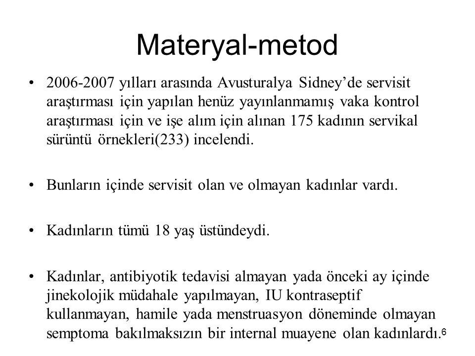 6 Materyal-metod 2006-2007 yılları arasında Avusturalya Sidney'de servisit araştırması için yapılan henüz yayınlanmamış vaka kontrol araştırması için