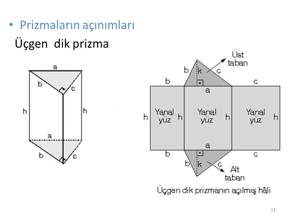 Prizmaların açınımları Üçgen dik prizma 11