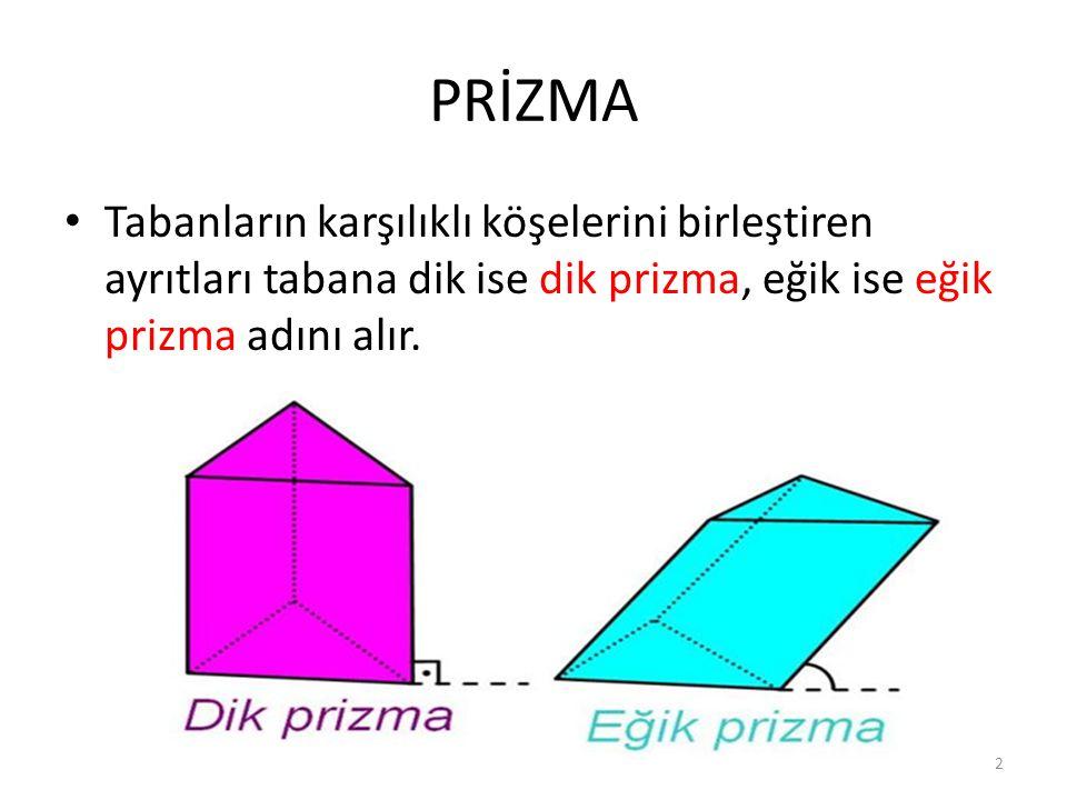 PRİZMA Tabanların karşılıklı köşelerini birleştiren ayrıtları tabana dik ise dik prizma, eğik ise eğik prizma adını alır. 2