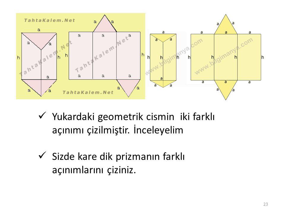 Yukardaki geometrik cismin iki farklı açınımı çizilmiştir. İnceleyelim Sizde kare dik prizmanın farklı açınımlarını çiziniz. 23