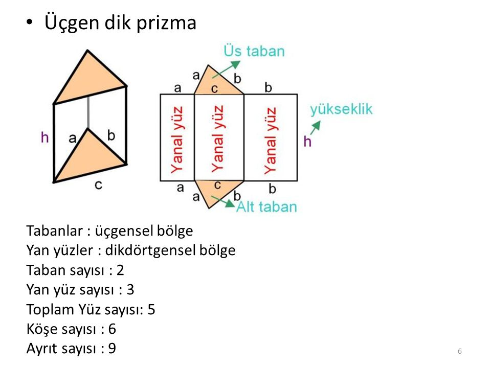 Üçgen dik prizma Tabanlar : üçgensel bölge Yan yüzler : dikdörtgensel bölge Taban sayısı : 2 Yan yüz sayısı : 3 Toplam Yüz sayısı: 5 Köşe sayısı : 6 A