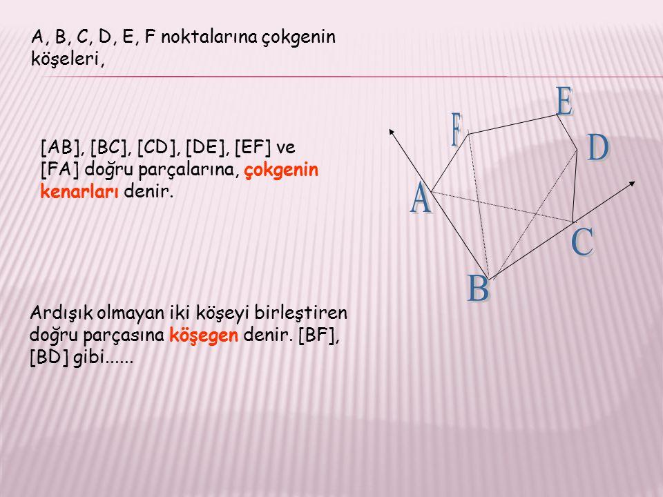 A, B, C, D, E, F noktalarına çokgenin köşeleri, Ardışık olmayan iki köşeyi birleştiren doğru parçasına köşegen denir.