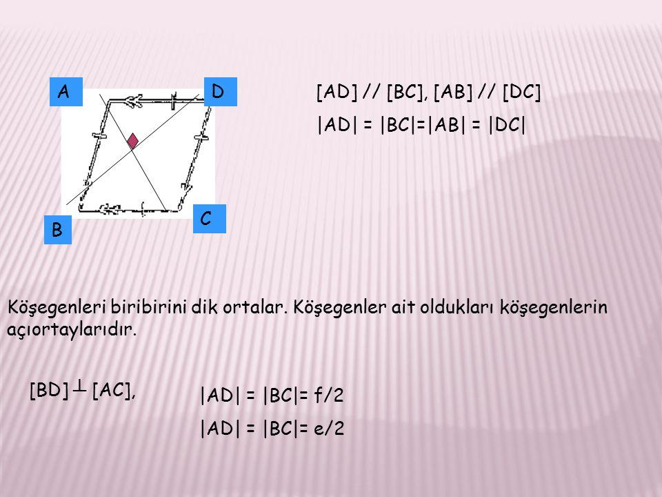 AD B C [AD] // [BC], [AB] // [DC] |AD| = |BC|=|AB| = |DC| Köşegenleri biribirini dik ortalar.