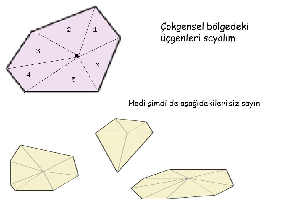. Çokgensel bölgedeki üçgenleri sayalım 12 3 4 5 6 Hadi şimdi de aşağıdakileri siz sayın