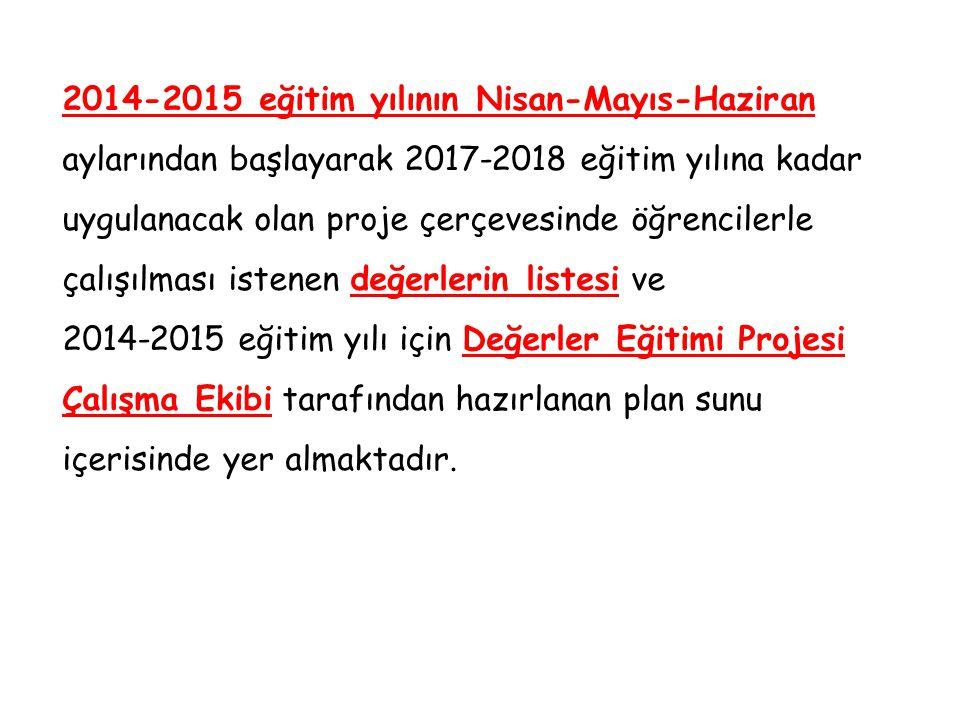 2014-2015 eğitim yılının Nisan-Mayıs-Haziran aylarından başlayarak 2017-2018 eğitim yılına kadar uygulanacak olan proje çerçevesinde öğrencilerle çalı