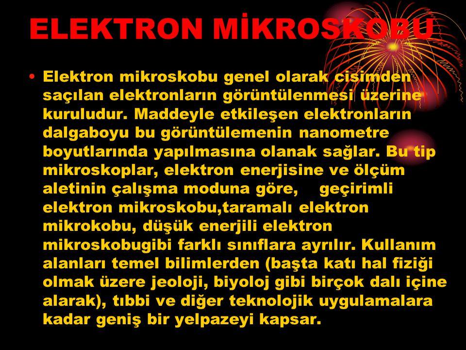 ELEKTRON MİKROSKOBU Elektron mikroskobu genel olarak cisimden saçılan elektronların görüntülenmesi üzerine kuruludur. Maddeyle etkileşen elektronların