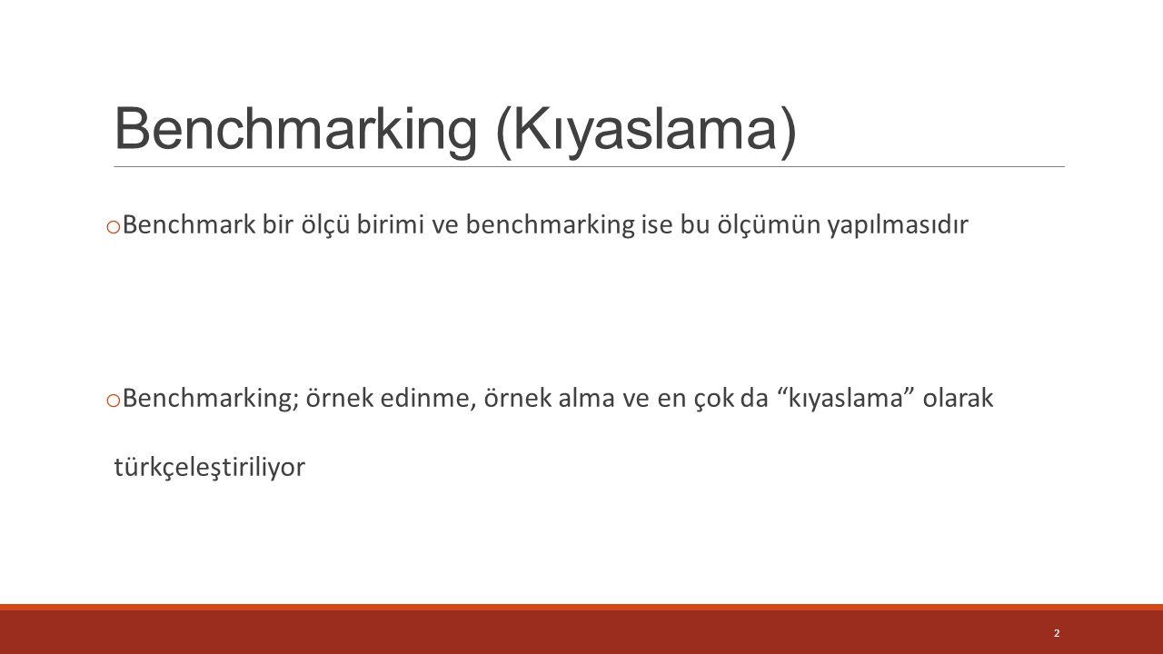 Benchmarking (Kıyaslama) o Benchmark bir ölçü birimi ve benchmarking ise bu ölçümün yapılmasıdır o Benchmarking; örnek edinme, örnek alma ve en çok da