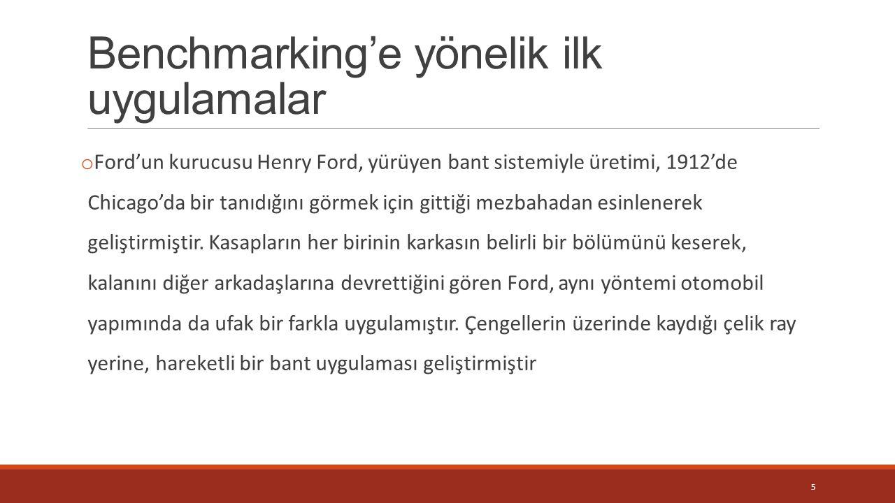 Benchmarking'e yönelik ilk uygulamalar o Ford'un kurucusu Henry Ford, yürüyen bant sistemiyle üretimi, 1912'de Chicago'da bir tanıdığını görmek için g