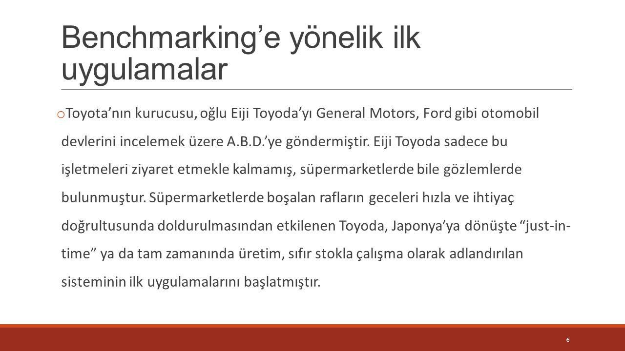 Benchmarking'e yönelik ilk uygulamalar o Toyota'nın kurucusu, oğlu Eiji Toyoda'yı General Motors, Ford gibi otomobil devlerini incelemek üzere A.B.D.'