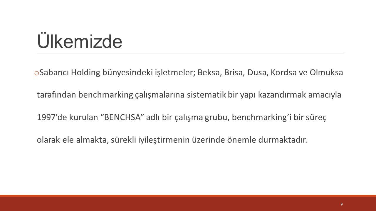 Ülkemizde o Sabancı Holding bünyesindeki işletmeler; Beksa, Brisa, Dusa, Kordsa ve Olmuksa tarafından benchmarking çalışmalarına sistematik bir yapı k