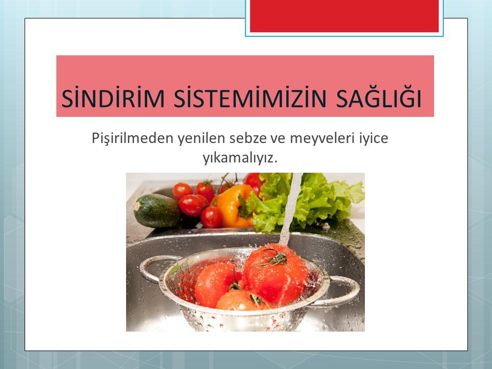 Pişirilmeden yenilen sebze ve meyveleri iyice yıkamalıyız. SİNDİRİM SİSTEMİMİZİN SAĞLIĞI