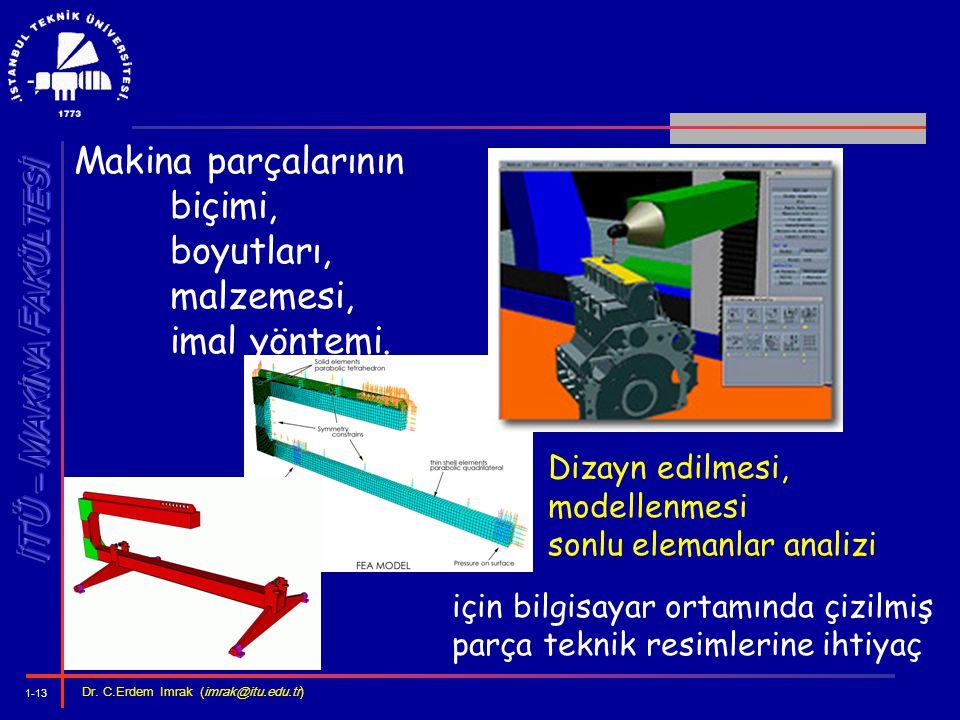 1-13 Dr. C.Erdem Imrak (imrak@itu.edu.tr ) Makina parçalarının biçimi, boyutları, malzemesi, imal yöntemi. Dizayn edilmesi, modellenmesi sonlu elemanl