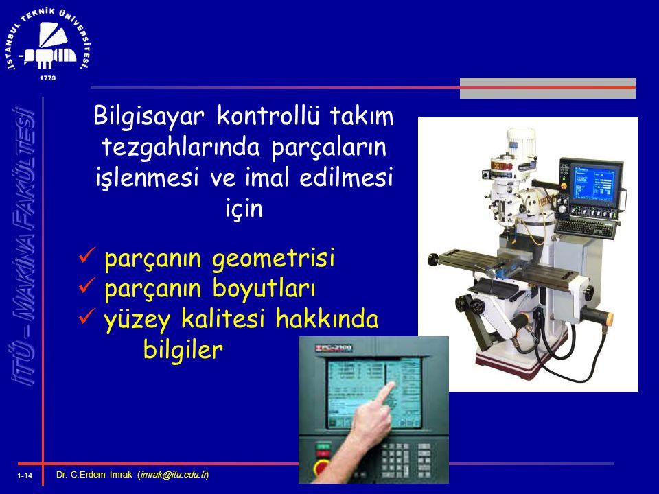 1-14 Dr. C.Erdem Imrak (imrak@itu.edu.tr ) Bilgisayar kontrollü takım tezgahlarında parçaların işlenmesi ve imal edilmesi için parçanın geometrisi par