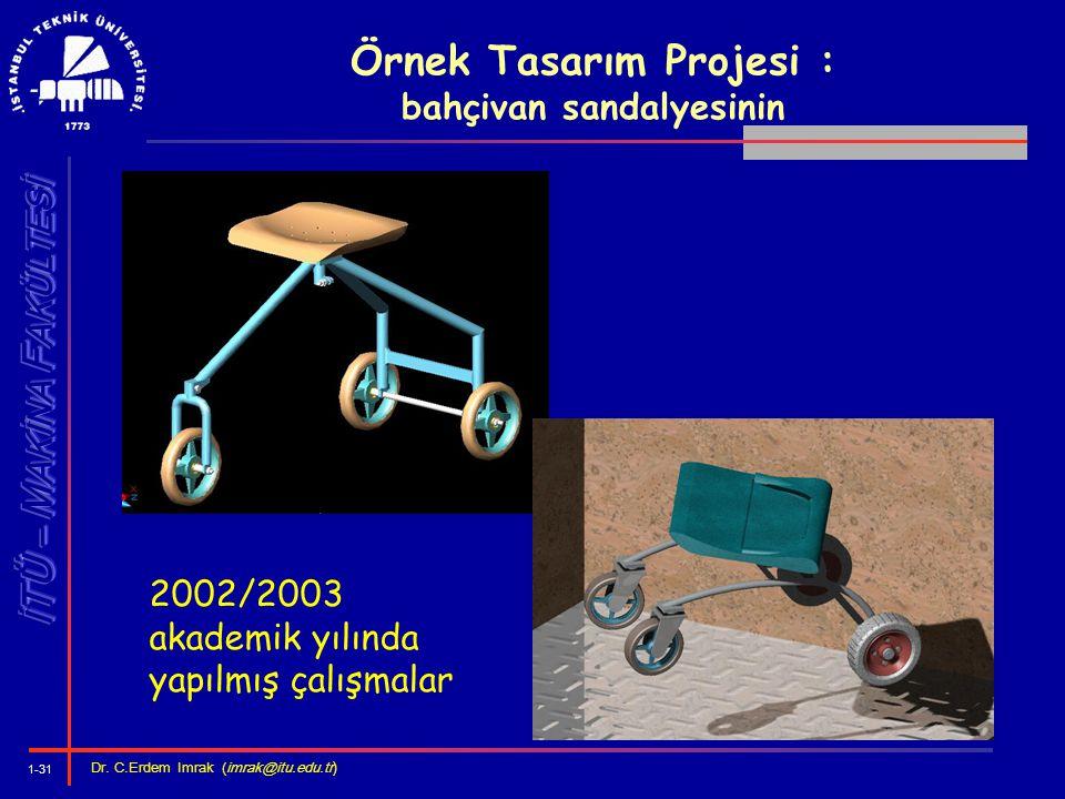 1-31 Dr. C.Erdem Imrak (imrak@itu.edu.tr ) Örnek Tasarım Projesi : bahçivan sandalyesinin 2002/2003 akademik yılında yapılmış çalışmalar