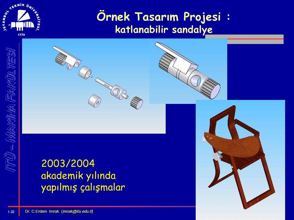 1-32 Dr. C.Erdem Imrak (imrak@itu.edu.tr ) Örnek Tasarım Projesi : katlanabilir sandalye 2003/2004 akademik yılında yapılmış çalışmalar