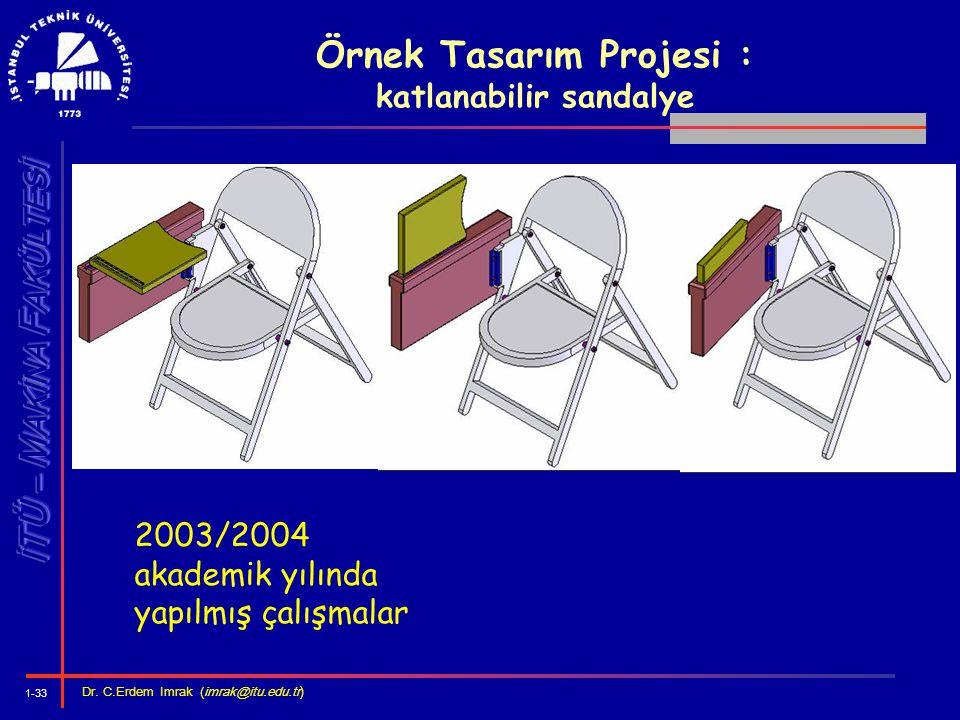 1-33 Dr. C.Erdem Imrak (imrak@itu.edu.tr ) Örnek Tasarım Projesi : katlanabilir sandalye 2003/2004 akademik yılında yapılmış çalışmalar