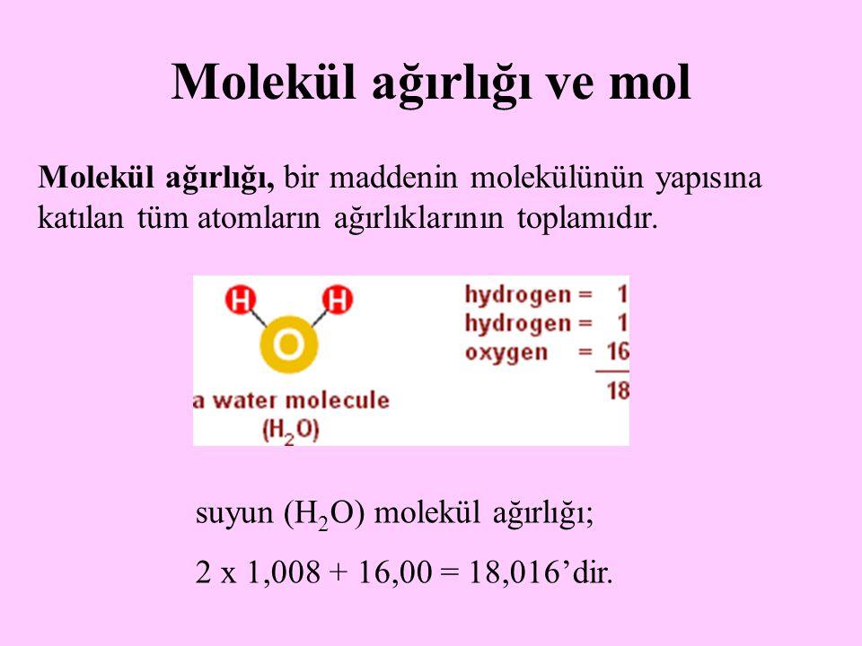 Molekül ağırlığı ve mol Molekül ağırlığı, bir maddenin molekülünün yapısına katılan tüm atomların ağırlıklarının toplamıdır. suyun (H 2 O) molekül ağı