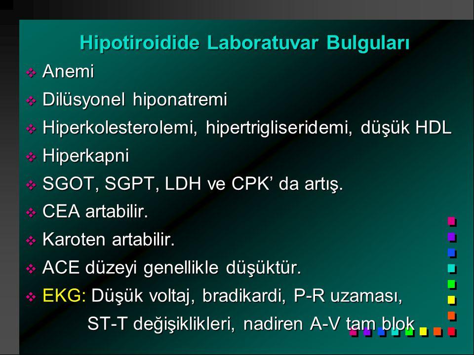 Hipotiroidide Laboratuvar Bulguları  Anemi  Dilüsyonel hiponatremi  Hiperkolesterolemi, hipertrigliseridemi, düşük HDL  Hiperkapni  SGOT, SGPT, LDH ve CPK' da artış.
