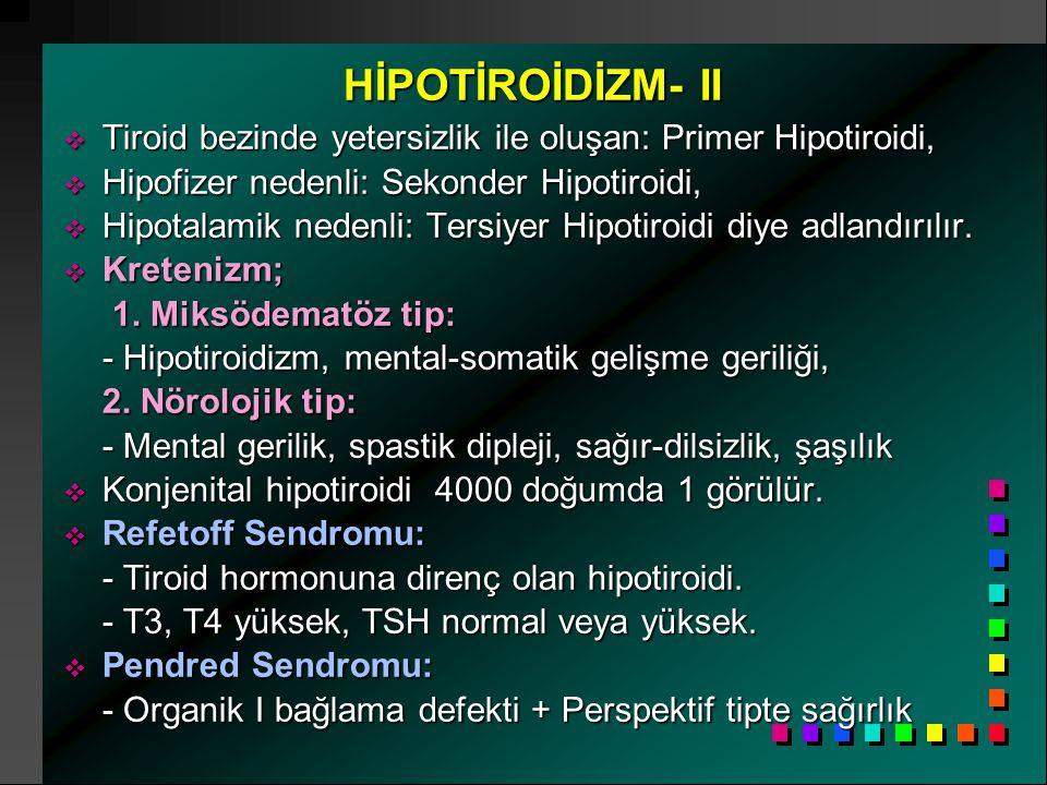 HİPOTİROİDİZM- II  Tiroid bezinde yetersizlik ile oluşan: Primer Hipotiroidi,  Hipofizer nedenli: Sekonder Hipotiroidi,  Hipotalamik nedenli: Tersiyer Hipotiroidi diye adlandırılır.